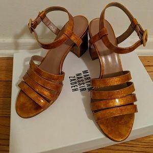 Maryam Nassir Zadeh Shoes - Maryam Nassir Zadeh Flame Glitter Palma Sandals